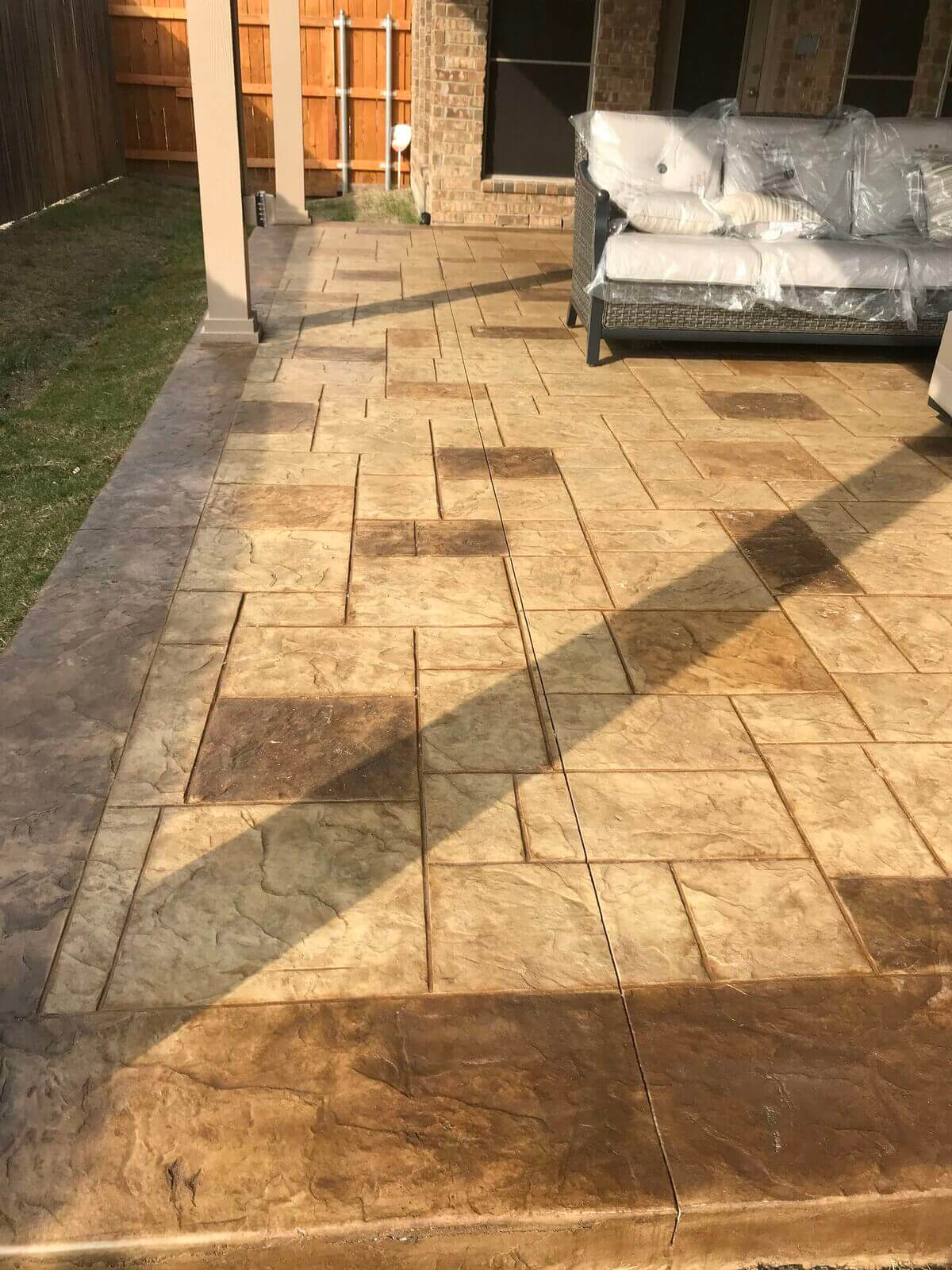 Stained and stamped patio