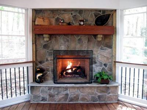 Screened porch fireplace