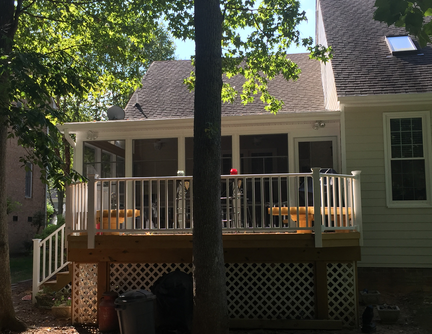 Wood deck and screened porch