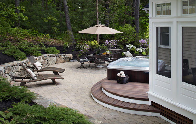 cozy patio and deck with hot tub