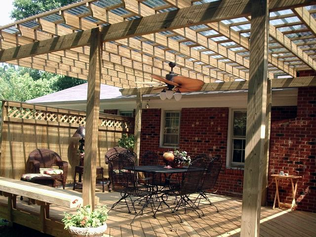 Pergola over patio seating area