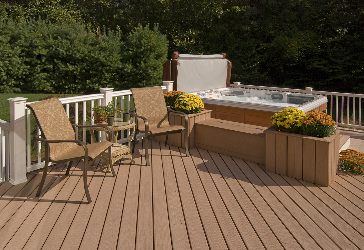 Synthetic deck and hot tub