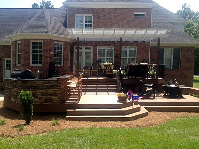 Pergola and patio seating area