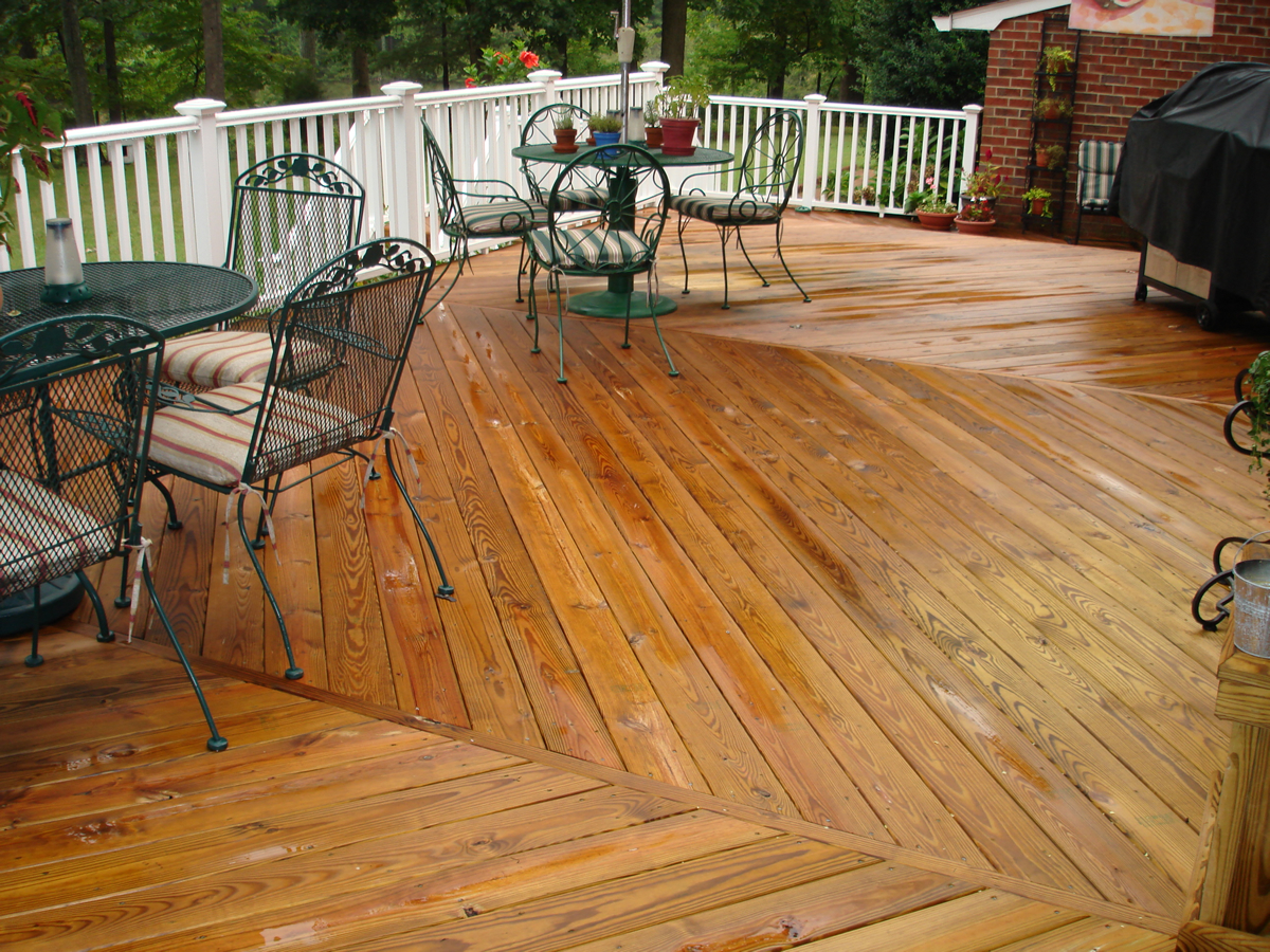 Wood deck and seating area
