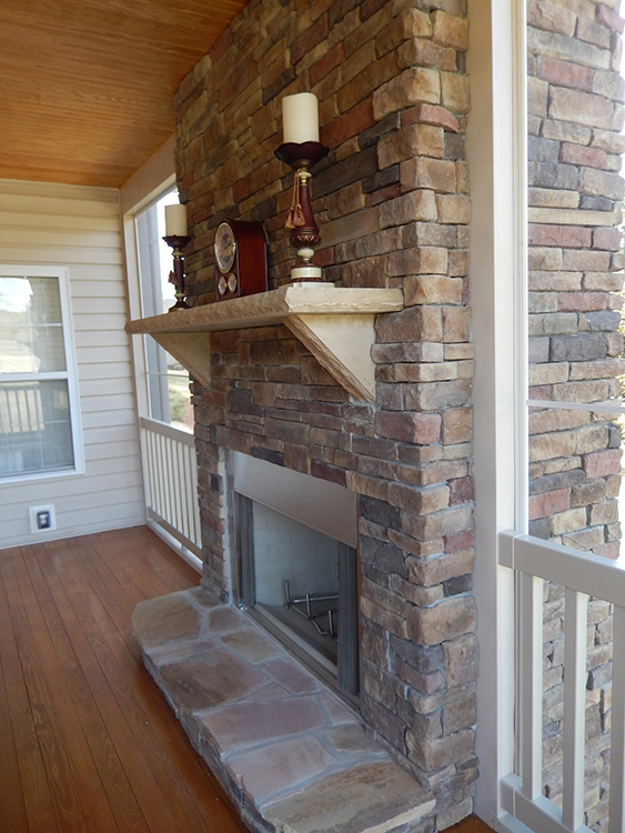Fireplace in screened porch