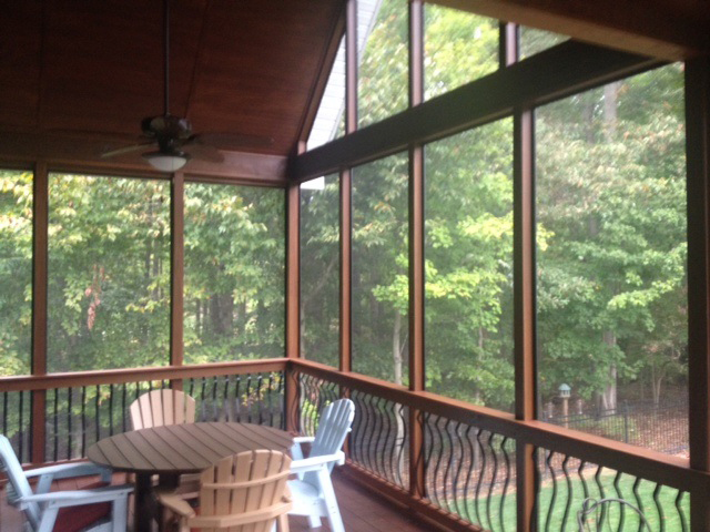 Seating area in screened porch