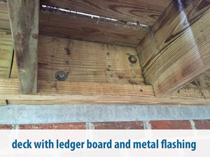 deck with ledger board and metal flashing
