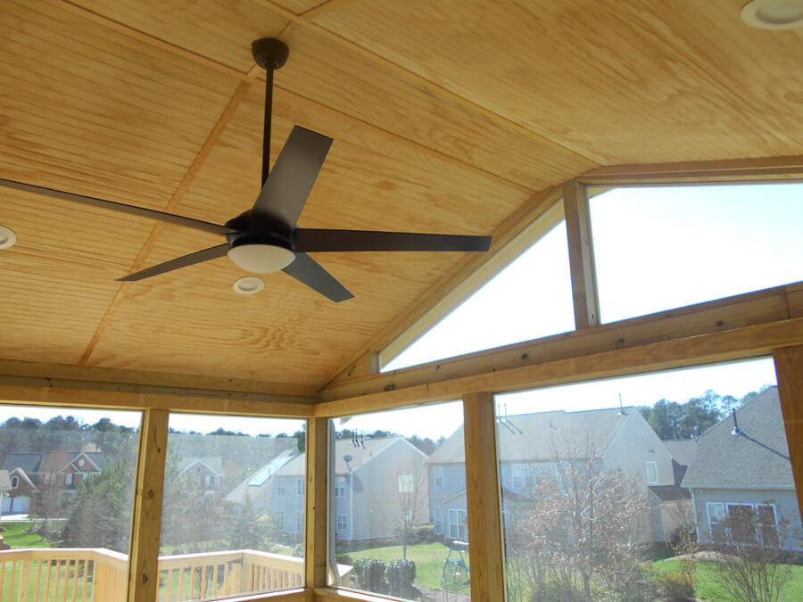 Screened porches with ceiling fans are great for summer