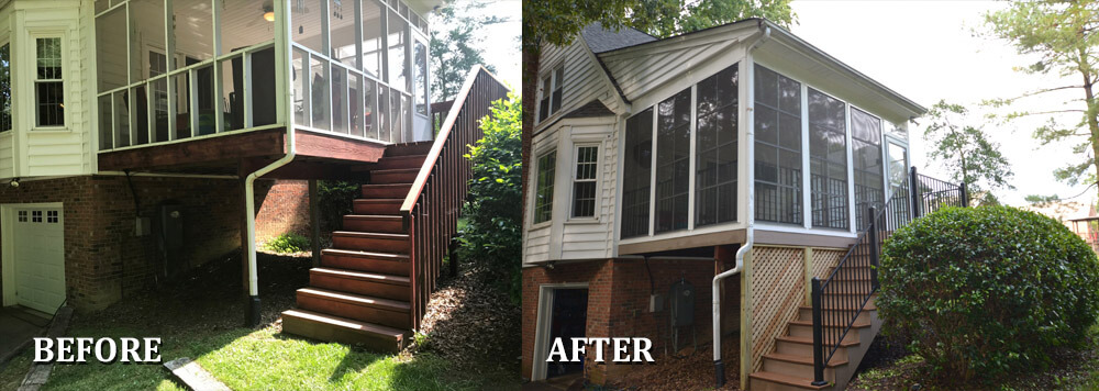 Custom before and after window porch