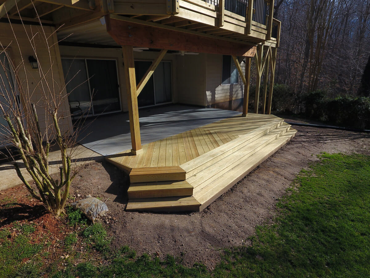 Pressure Treated Wood Landing on Cary Patio