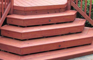 red wood deck staircase