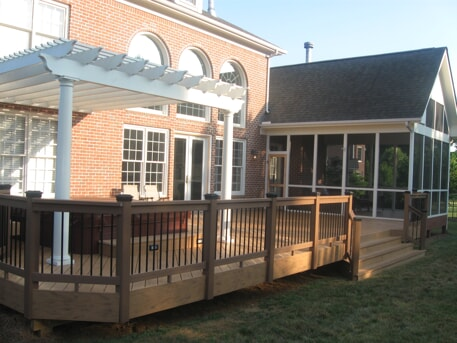 composite deck with pergola in chapel hill