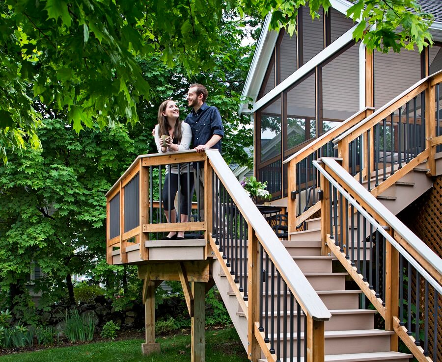 Couple enjoying their deck