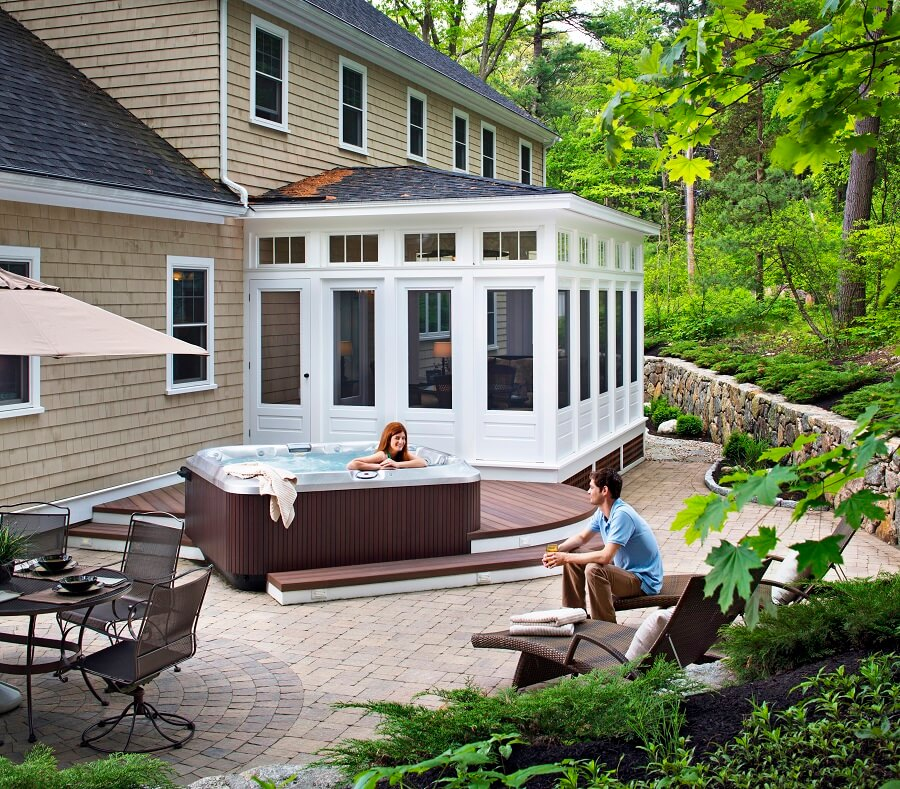 pool deck and screened porch