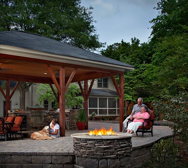 Covered patio and firepit