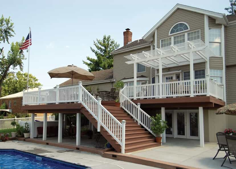 Large pool-side deck with attached pergola