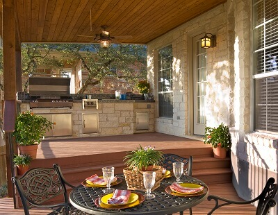 Outdoor kitchen and covered deck