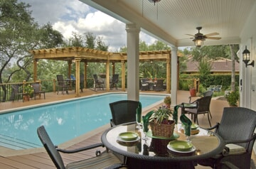 Poolside deck with pergola