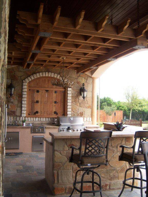 open patio with bar