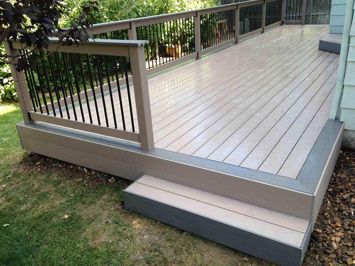 Low maintenance deck with railing