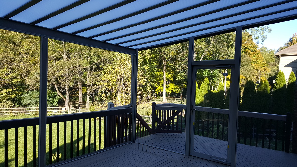 screened in patio cover over deck