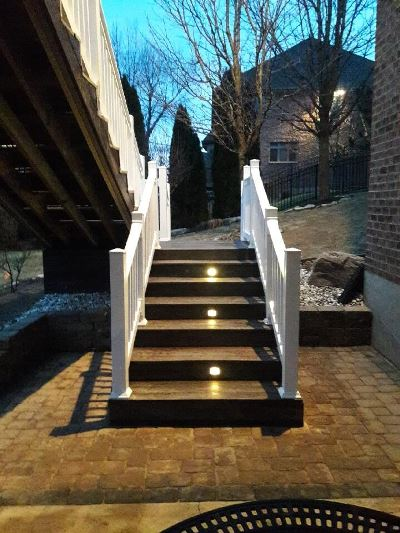 Stairs leading to raised deck