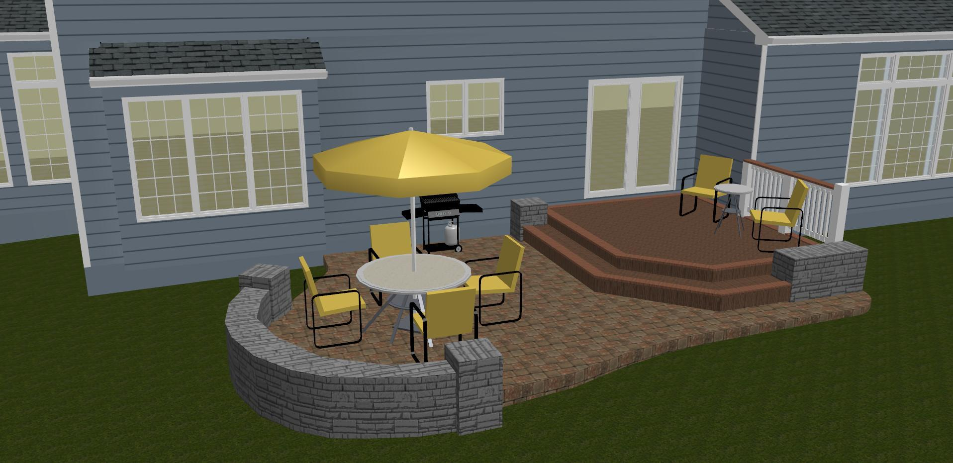 Deck and patio combination rendering