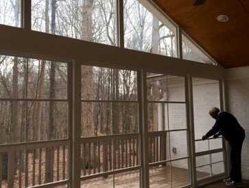 Dayton screened porch with eze breeze windows