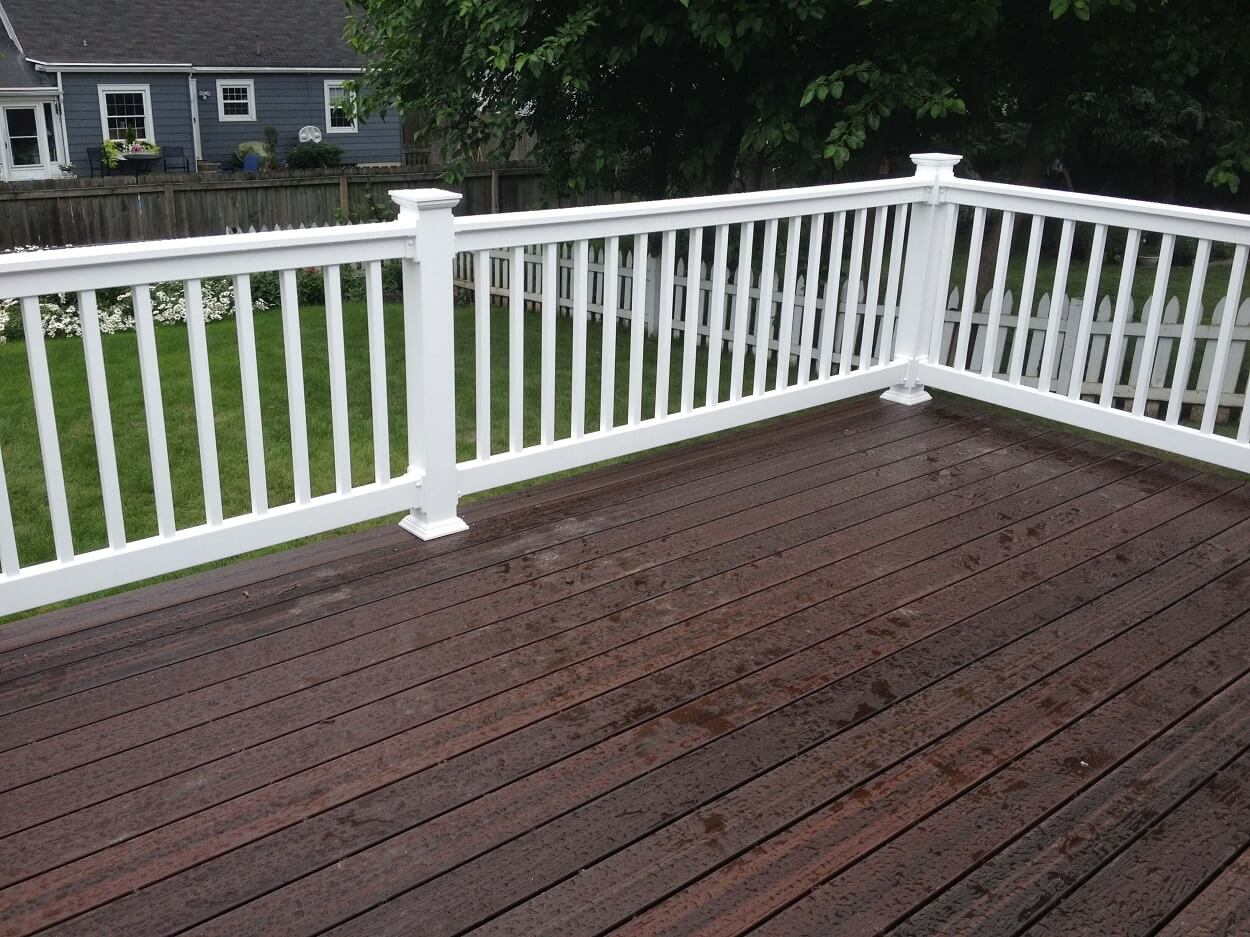Deck with white railing