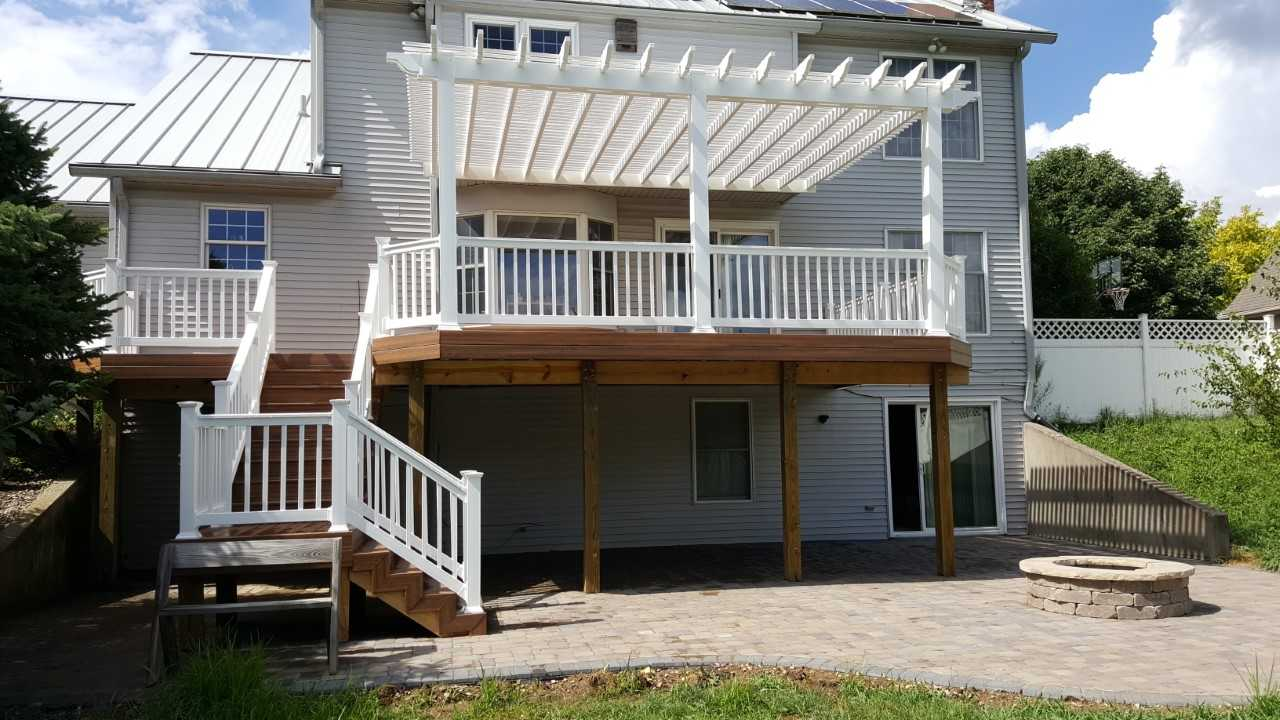 story deck with railing and stairs