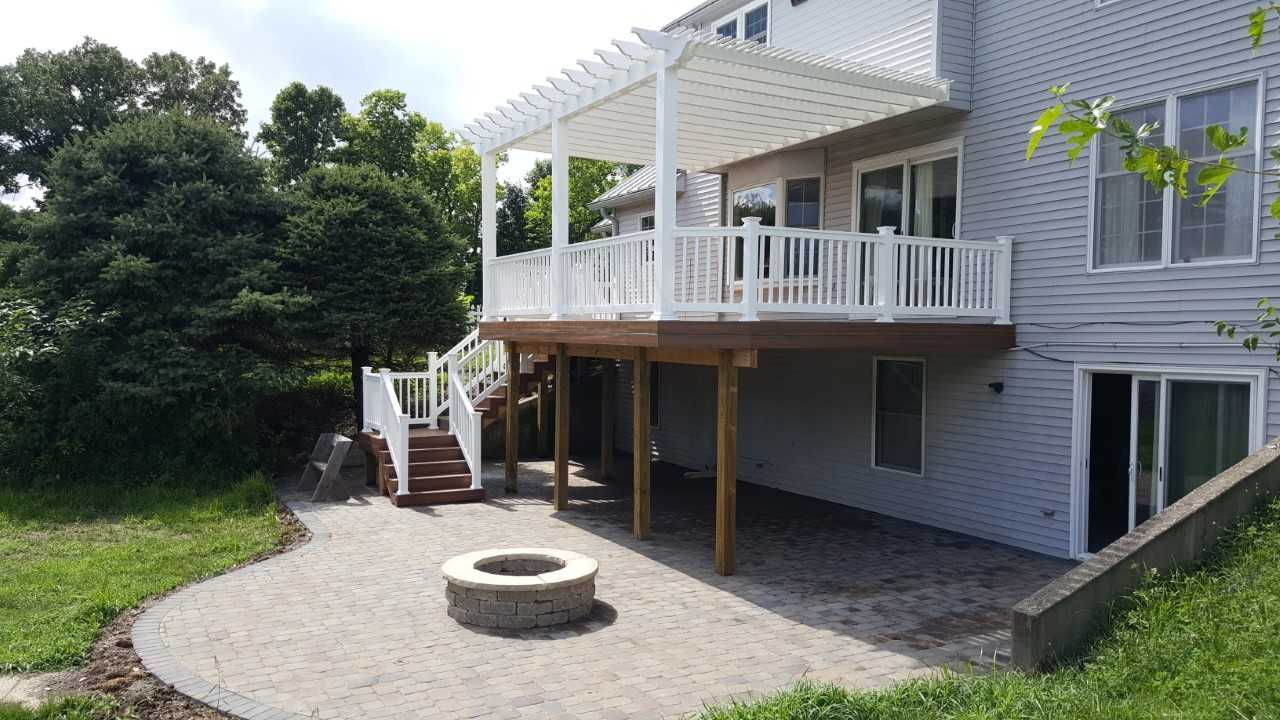 Two story deck with built in firepit