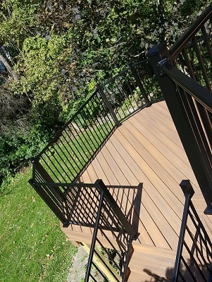 Composite deck with black railing