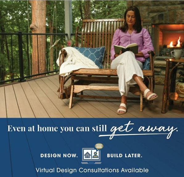 woman sitting on rocking bench on her deck with fireplace lit behind her, text says: Even at home you can still get away. Design now. Build Later. Virtual Design Consultations Available.