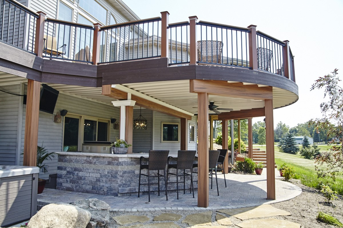 stone patio and deck