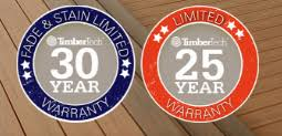 TimberTech 30 Year Fade & Stain Limited Warranty Badge & TimberTech 25 Year Limited Warranty Badge
