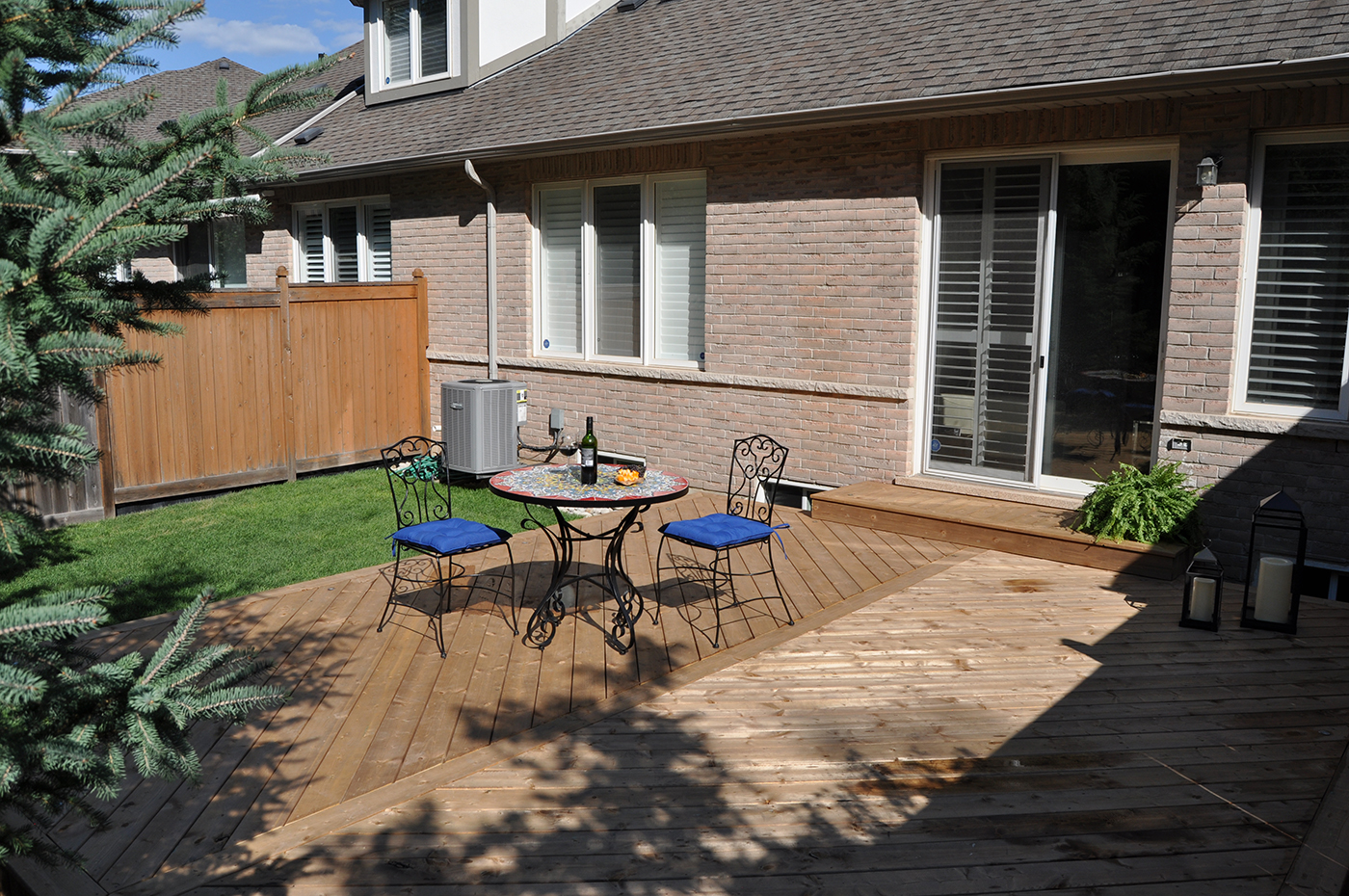 Wood deck in the backyard.