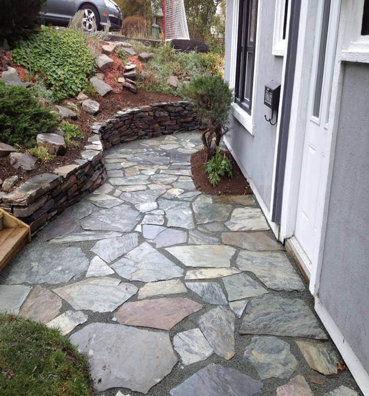 Stone Patio With Retaining Wall
