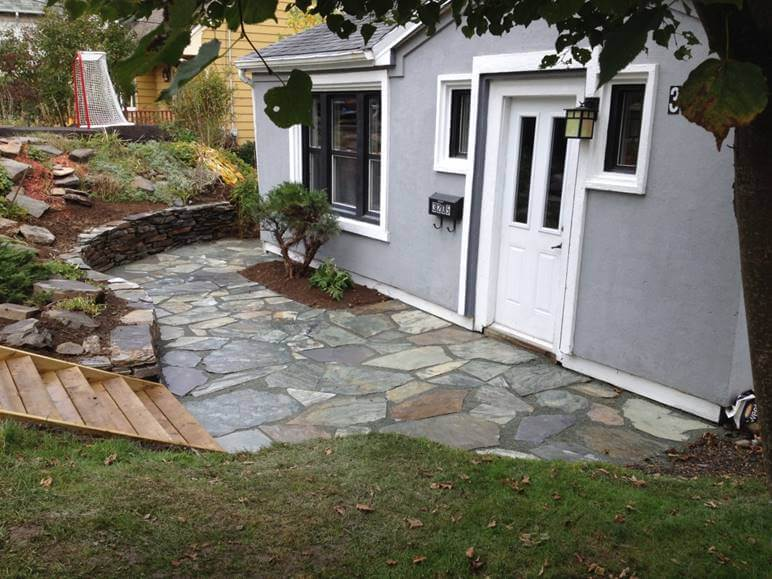 stone patio and retaining wall