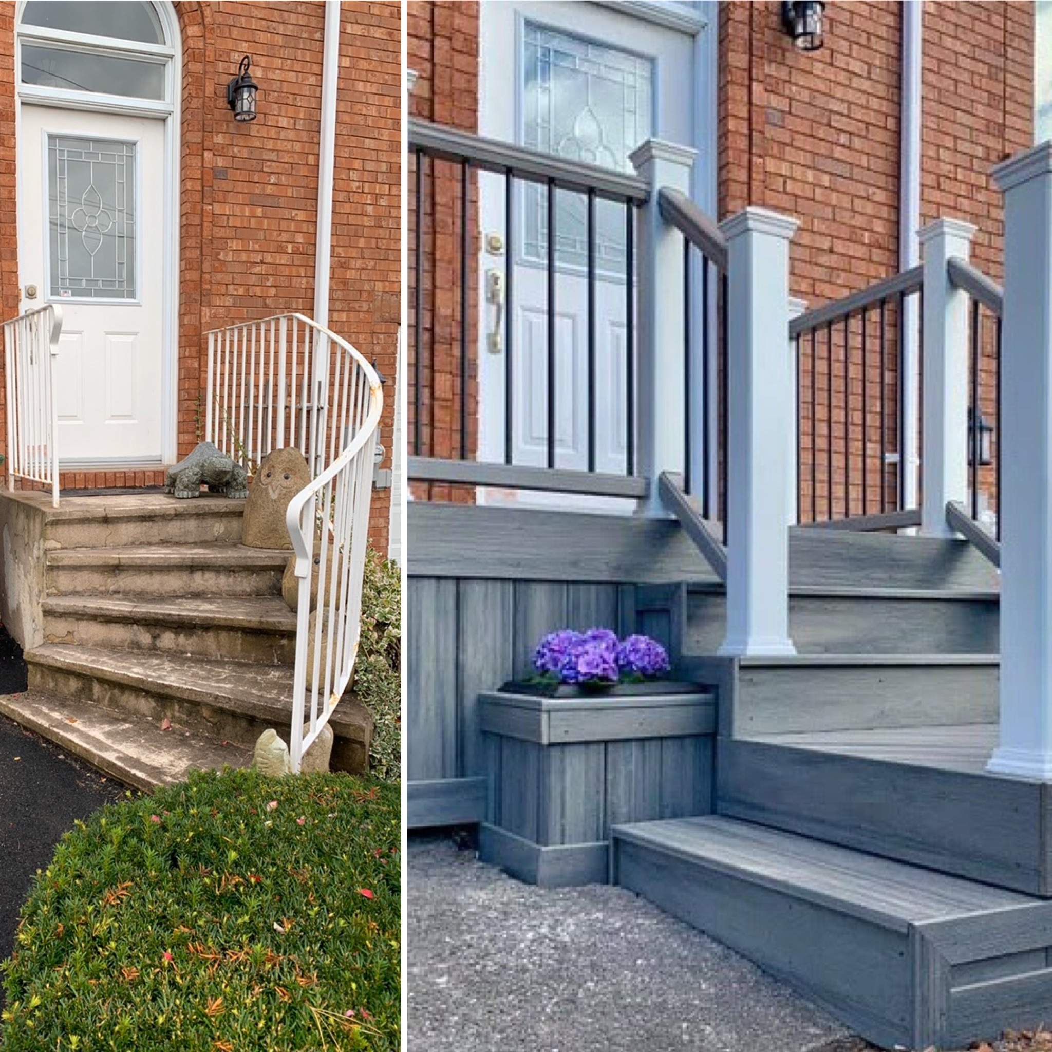 Front porch steps before and after
