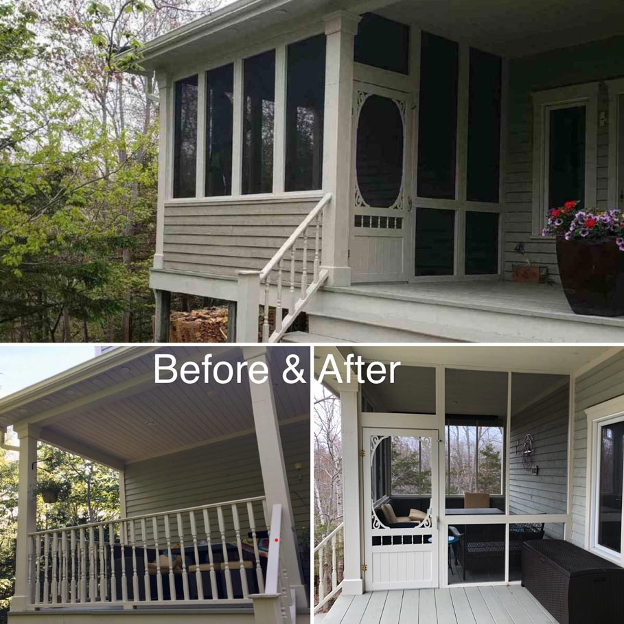 Before and after image of remodeled screened porch