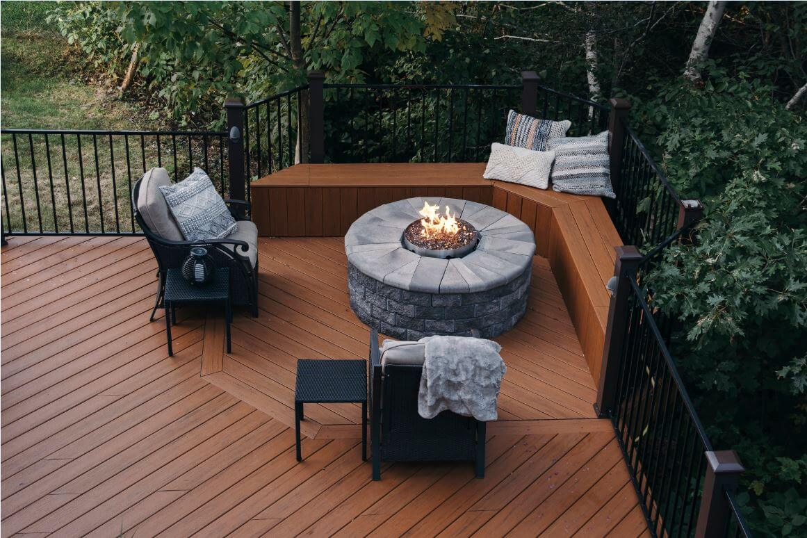 Custom deck with stone fire pit