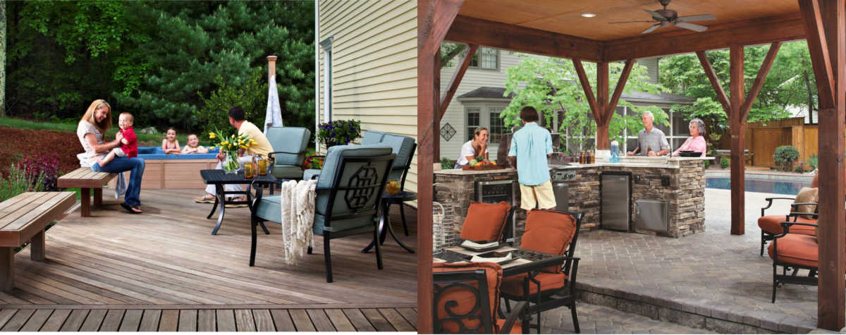 warm and inviting outdoor decks with spa and kitchen