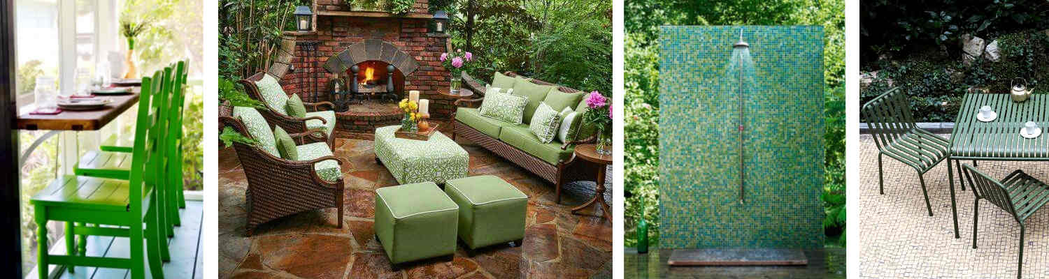 Green accents in your outdoor living areas