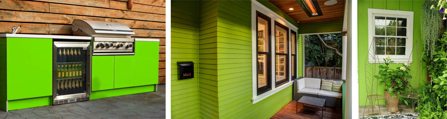 bright green accent colors used on porches