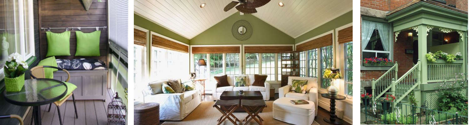 Green accents for the porch and sunroom