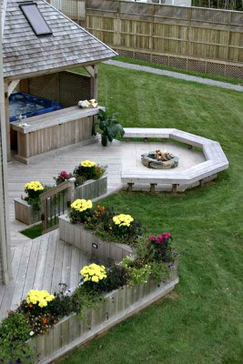 Custom deck and patio with fire pit
