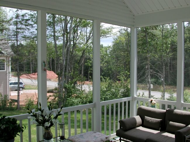 View from inside screened room porch in Halifax