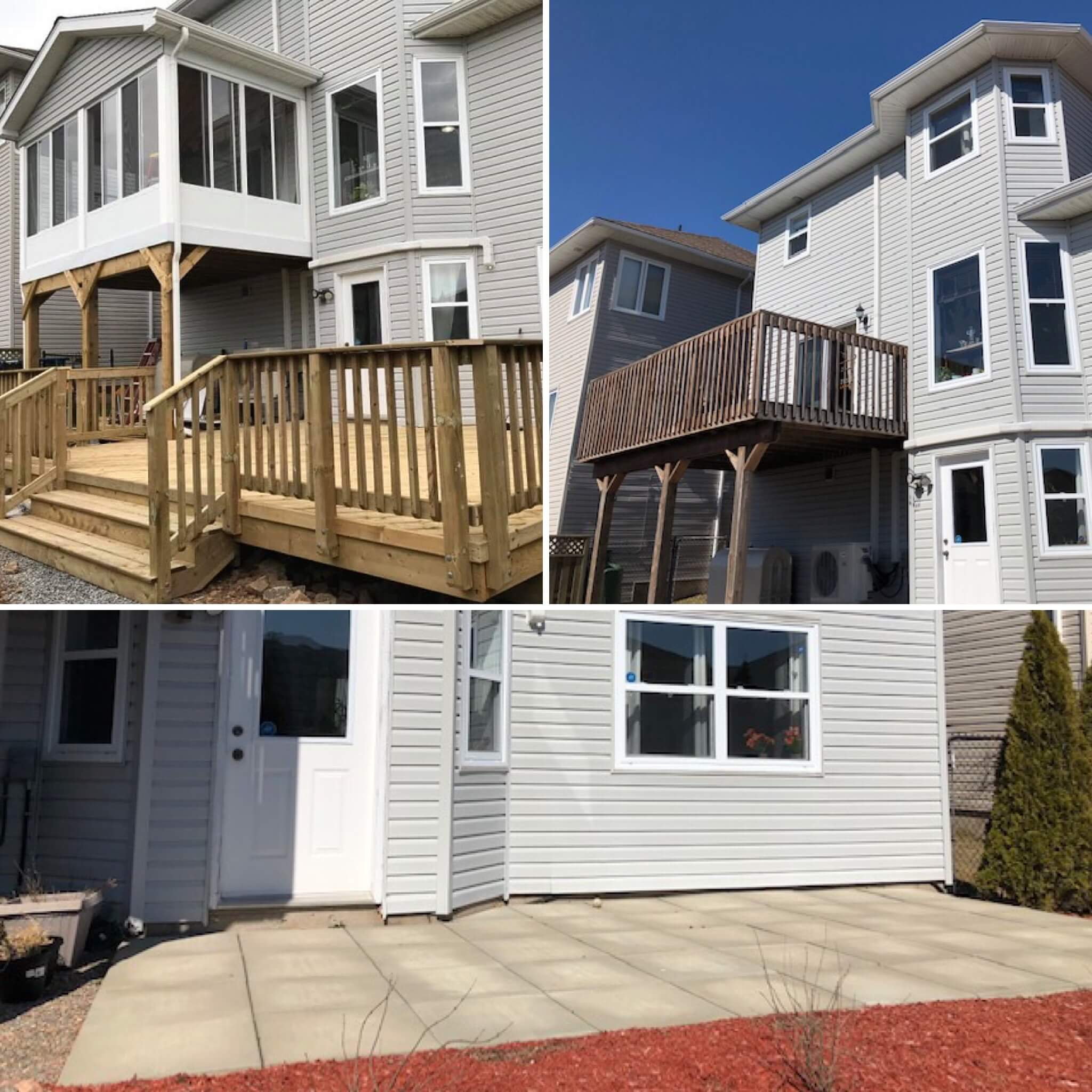 Before and after of a pressure-treated wood deck and sunroom addition