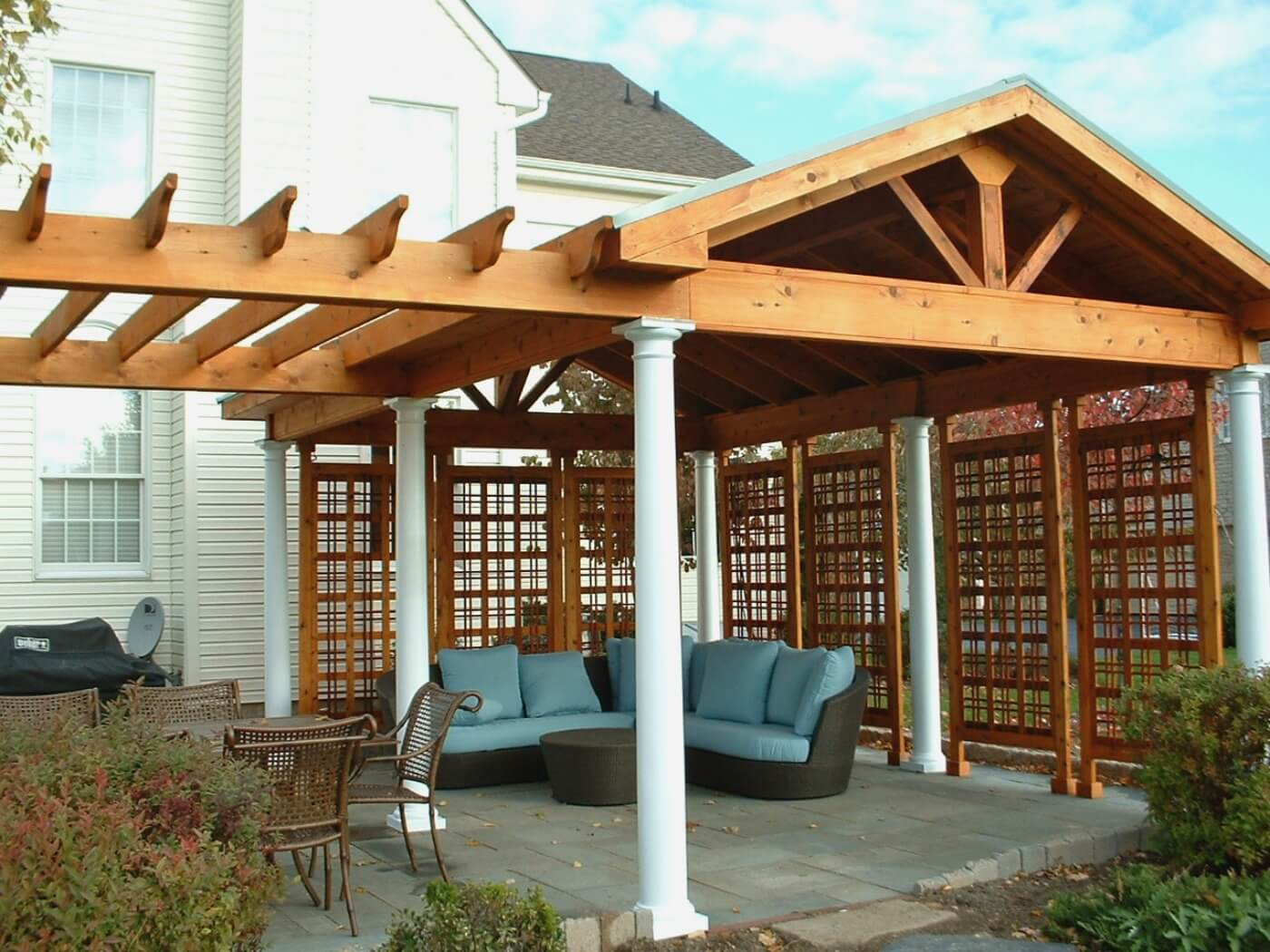 Custom pergola over patio