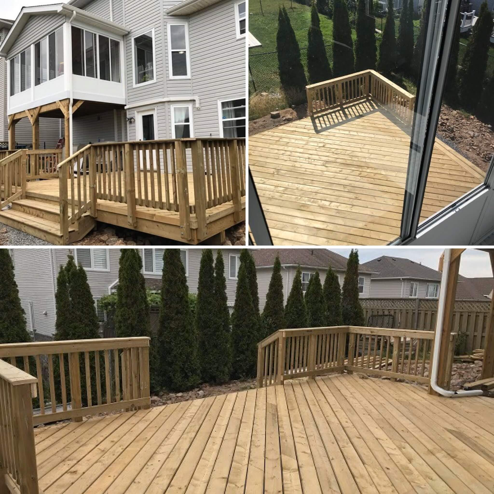 Pressure-treated wooden deck in Halifax, Nova Scotia